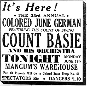 An ad for the African American June German dance of 1940. Image from the Rocky Mount Telegram.
