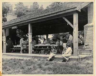 Photograph of a picnic shelter at Kerr Lake, ca. 1950s. The picnic shelters are a popular rental at the recreation area for families, reunions, and social events. From the North Carolina Division of Parks and Recreation.