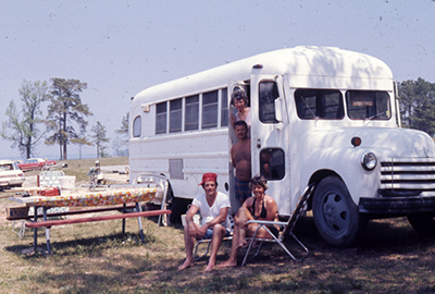 """Campers Come to Kerr Lake in all types of Vehicles.""  Photograph, ca. 1970. From North Carolina Division of Parks and Recreation."