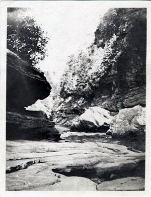 Scenic views in the Babel Tower Gorge, Linville River, NC. September 1919. From the collections of the North Carolina Museum of History.  Used courtesy of the North Carolina Department of Cultural Resources.