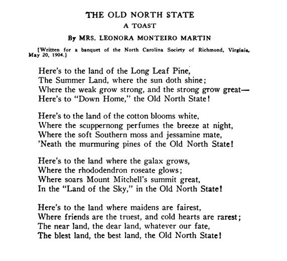 The Old North State: A Toast | NCpedia