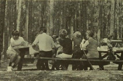 Photograph of picnickers, ca. 1975, Medoc Mountain State Park. From <i>Medoc Mountain State Park Master Plan,</i> N.C. Division of Parks and Recreation, 1975.