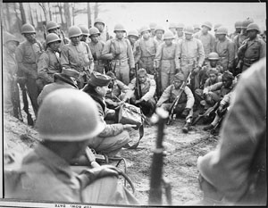 Marines receiving instruction in the Demolition Course at Montford Point Camp, February 1945.  Image from the National Archives and Records Administration, presented on Wikimedia Commons.