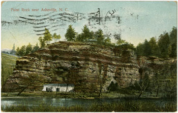 Paint Rock near Asheville, N.C., postcard by the International Post Card Co., New York, N.Y.  From North Carolina Postcards, North Carolina Collection, Wilson Library, University of North Carolina at Chapel Hill. Used courtesy of the North Carolina Collection.