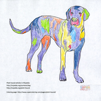 Colorful plotthound drawing, NC state symbols coloring pages