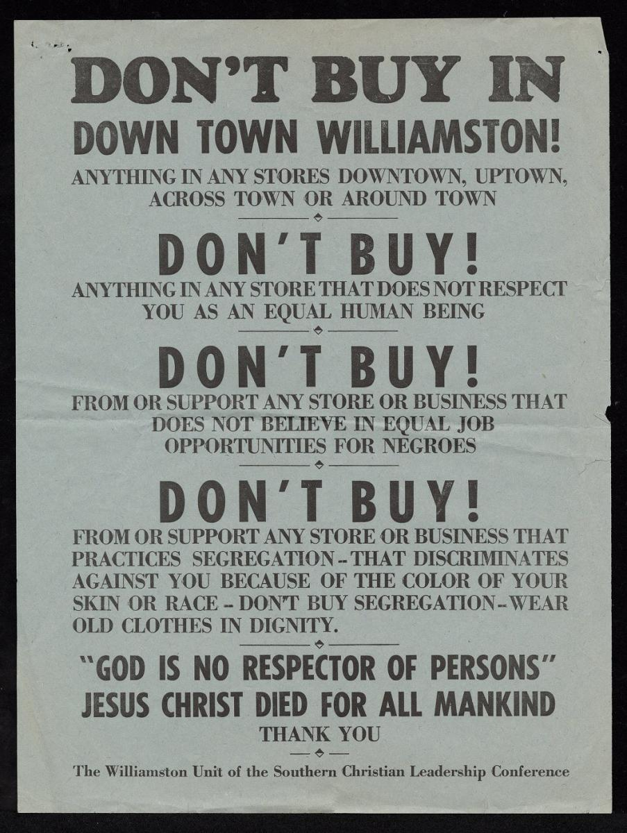 """Don't Buy In Down Town Williamston!"".  Image of boycott poster from 1963-1964 civil rights campaign and protests in Williamston, N.C., 1963-1964.  By the Southern Christian Leadership Conference.  Item 421.27.l, from East Carolina University Digital Collections."