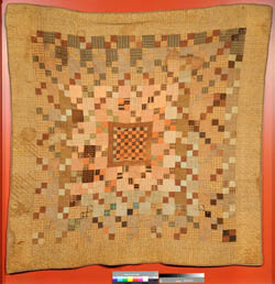 Quilt made from fabric worn by Civil War soldiers, made by Ann Sloan Lowrie Knox, ca. 1865, Mecklenburg County, N.C.  From the collections of the North Carolina Museum of History, used courtesy of the North Carolina Department of Cultural Resources.