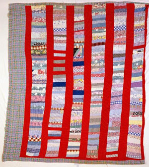 Hand-pieced quilt fashioned from fabric scraps and feed bags, made by Eliza Arrington, ca. 1930-1939, Wake County, N.C. From the collections of the North Carolina Museum of History, used courtesy of the North Carolina Department of Cultural Resources.