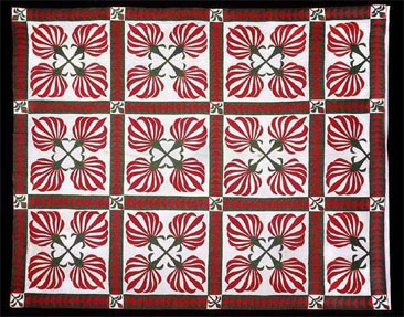 Cotton boll pattern applique quilt, made by Mary Frances Donohue Johnston, ca. 1850-1860, Caswell County, N.C. From the collections of the North Carolina Museum of History, used courtesy of the North Carolina Department of Cultural Resources.