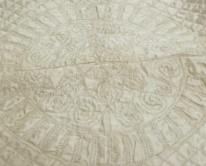 Closeup of crib quilt made for John Todd Cocke Wiatt's christening, made ca. 1781 in Gloucester, V.A. From the collections of the North Carolina Museum of History, used courtesy of the North Carolina Department of Cultural Resources.