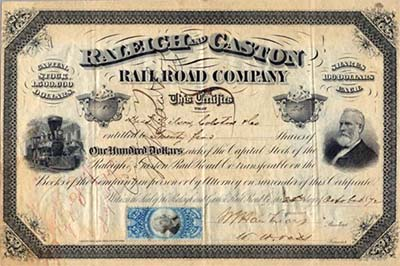 Stock certificate for the Raleigh & Gaston Railroad Company, 1872. Item H.1965.77.6, from the collection of North Carolina Museum of History. Used courtesy of the North Carolina Department of Natural and Cultural Resources.