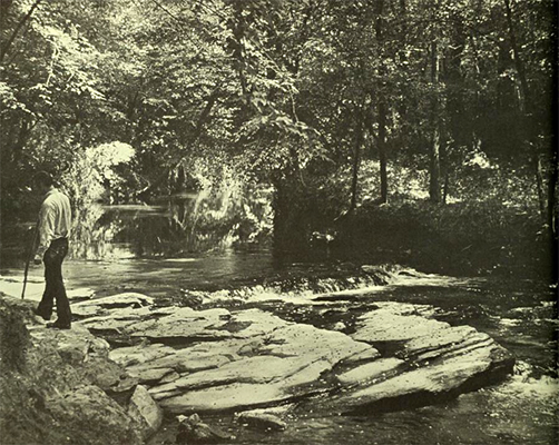 Photograph of hiker along river in Raven Rock State Park, ca. 1970s. From the <i>Raven Rock State Park Master Plan</i>, 1974, N.C. Division of Parks and Recreation.