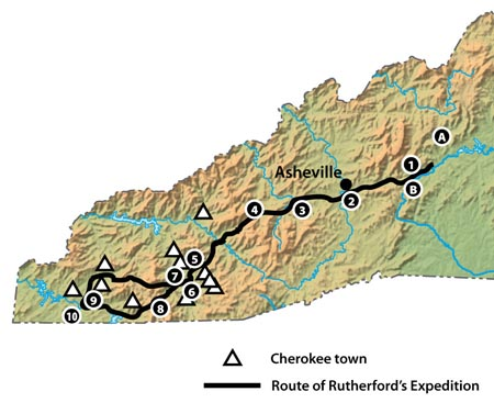 Map of Rutherford's Campaign into Western North Carolina. Image from LearnNC.org.