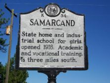"Image of ""Samarcand"" highway historical marker near Eagle Springs, in Moore County, N.C.  Marker K-34, North Carolina Historical Highway Marker Program.  Used courtesy of the North Carolina Department of Cultural Resources."