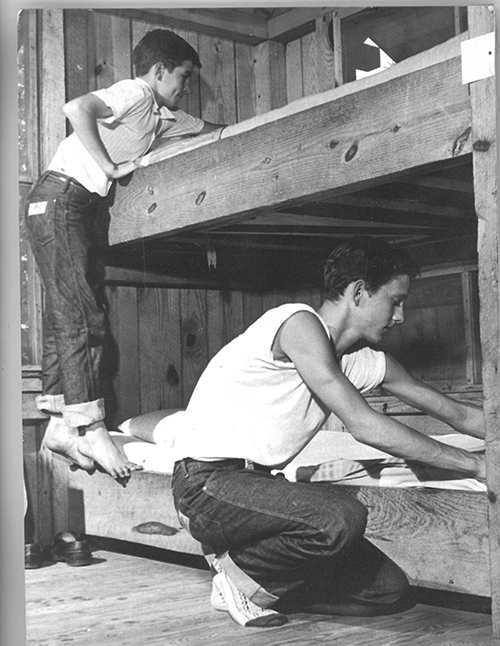 Boys in a cabin at Singletary Lake State Park, ca. 1950. Collection of North Carolina State Parks.