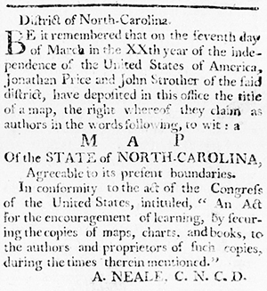 An announcement of Strother and Price's map in the North Carolina Gazette. April 2, 1796. 1.