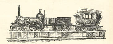 """First locomotive running into Raleigh in 1840.""  Sketch of the ""Tornado,"" p. 194 in Hope Summerwell Chamberlain's <i>History of Wake County North Carolina,</i> published 1922 by Edwards & Broughton Printing Company, Raleigh, NC."
