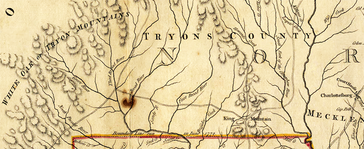 Section of Henry Mouzon's 1775 map showing Tryon County. Image from North Carolina Maps.