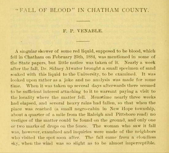 "Excerpt from ""'Fall of Blood' in Chatham County,"" by F. P. Venable, published in the <i>Journal of the Elisha Mitchell Scientific Society,</i> Vol. 1, p. 38-40, Chapel Hill, N.C. 1884."