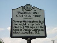 """Washington's Southern Tour."" Image of North Carolina Highway Historical Marker, G110, in Caswell County, North Carolina.  From the North Carolina Highway Historical Marker Program.  Used courtesy of the North Carolina Department of Cultural Resources."