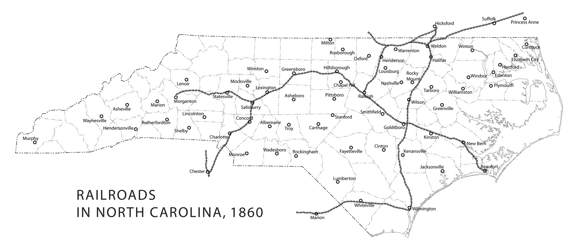Railroads in North Carolina, 1860