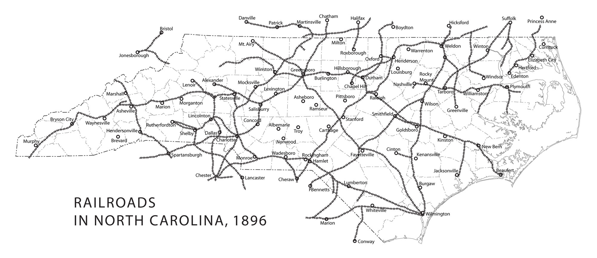 Railroads in North Carolina, 1896