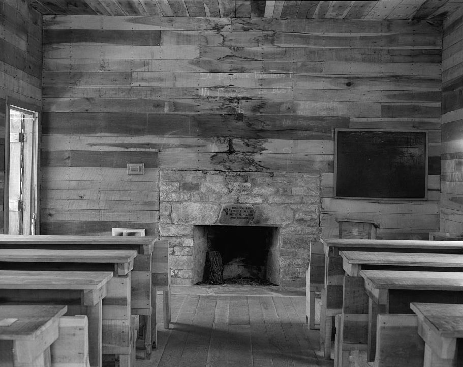 The schoolhouse of the Biltmore Forestry School was a simple wooden structure.