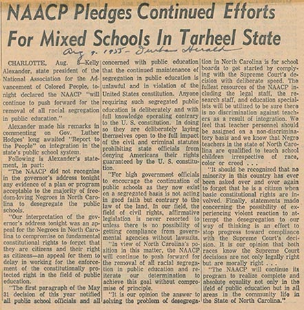 This is an image of an article titled NAACP Pledges Continued Efforts for Mixed Schools in Tarheel State, August 9, 1955.