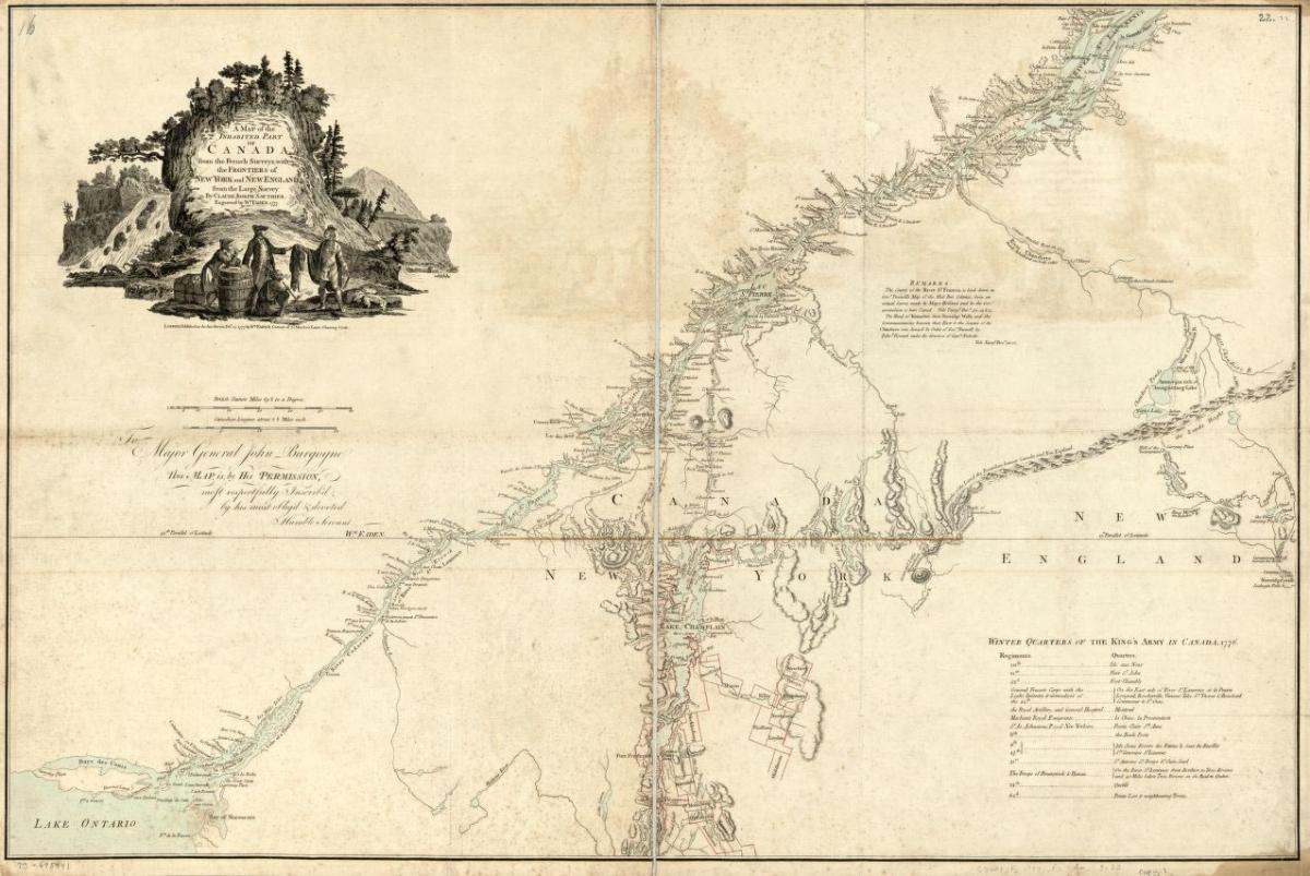 This map published in 1777 shows the Canadian-United States border.