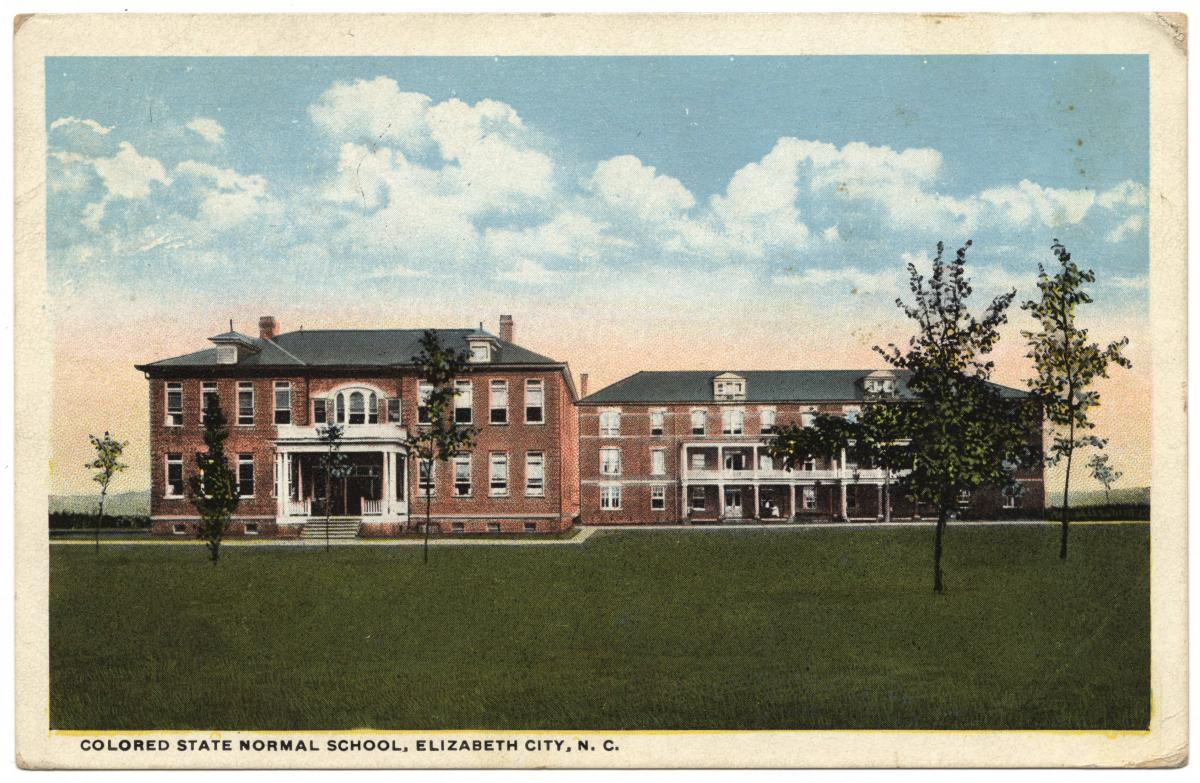 Color postcard showing two brick buildings at the Colored State Normal School in Elizabeth City, N.C.