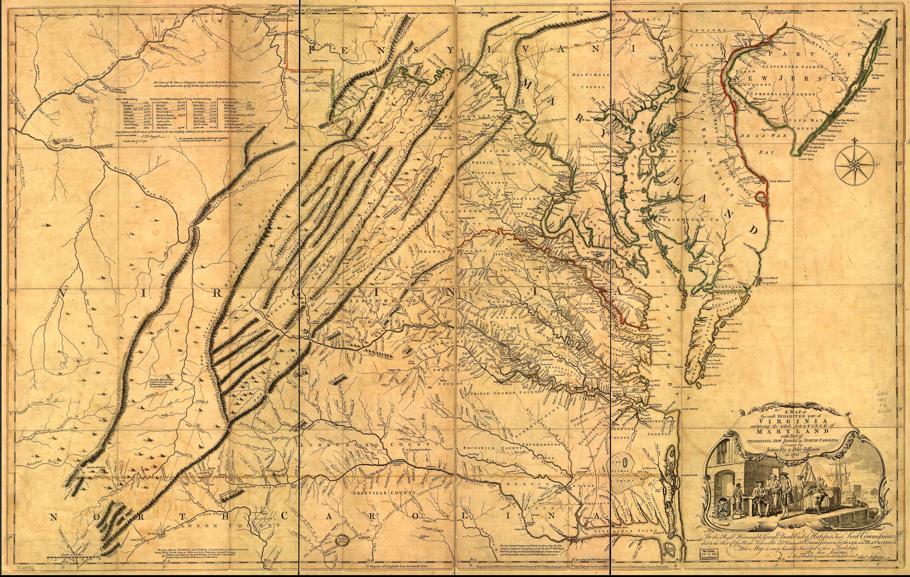 Fry-Jefferson map of Virginia, 1751, A map of the most inhabited part of Virginia containing the whole province of Maryland with part of Pensilvania, New Jersey and North Carolina