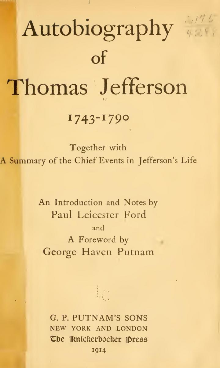 This is an image of the title page of the Autobiography of Thomas Jefferson: 1743-1790