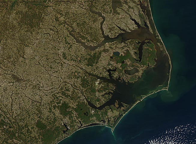 Satellite map of North Carolina barrier islands