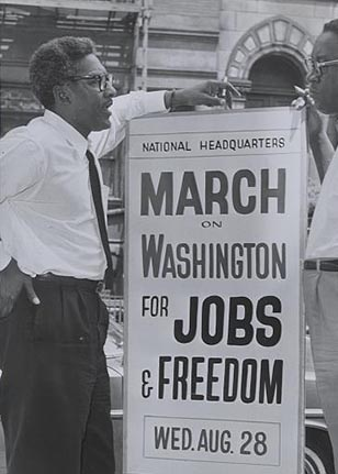 This is a photograph of Bayard Rustin, civil rights activist, from the 1963 March on Washington. From the Library of Congress.