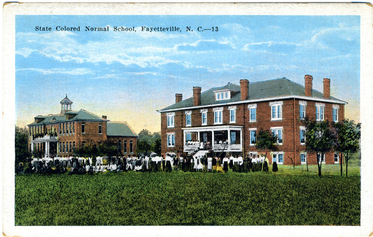 Color postcard showing two brick buildings at the Colored State Normal School in Fayetteville, N.C.