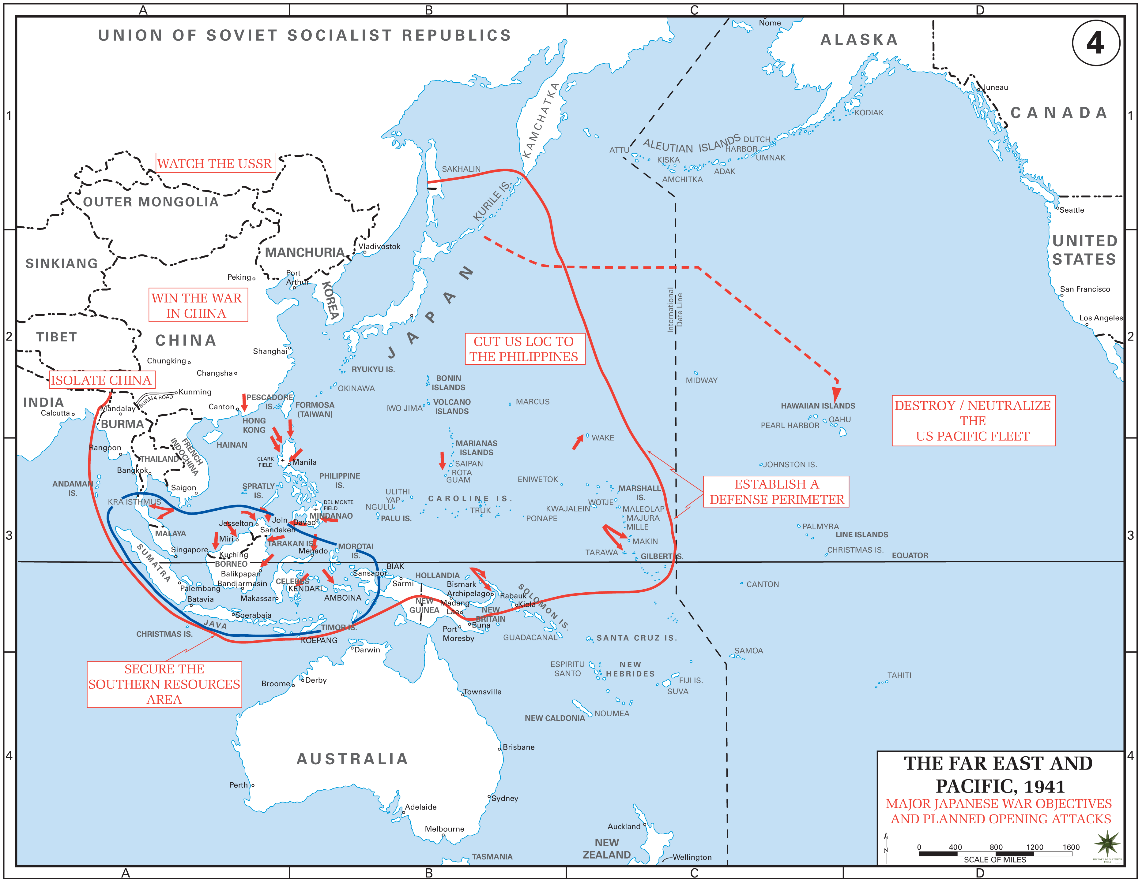 Japanese war objectives and planned opening attacks in World War II
