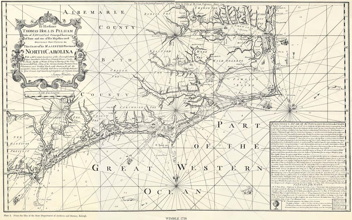 1738 map of North Carolina