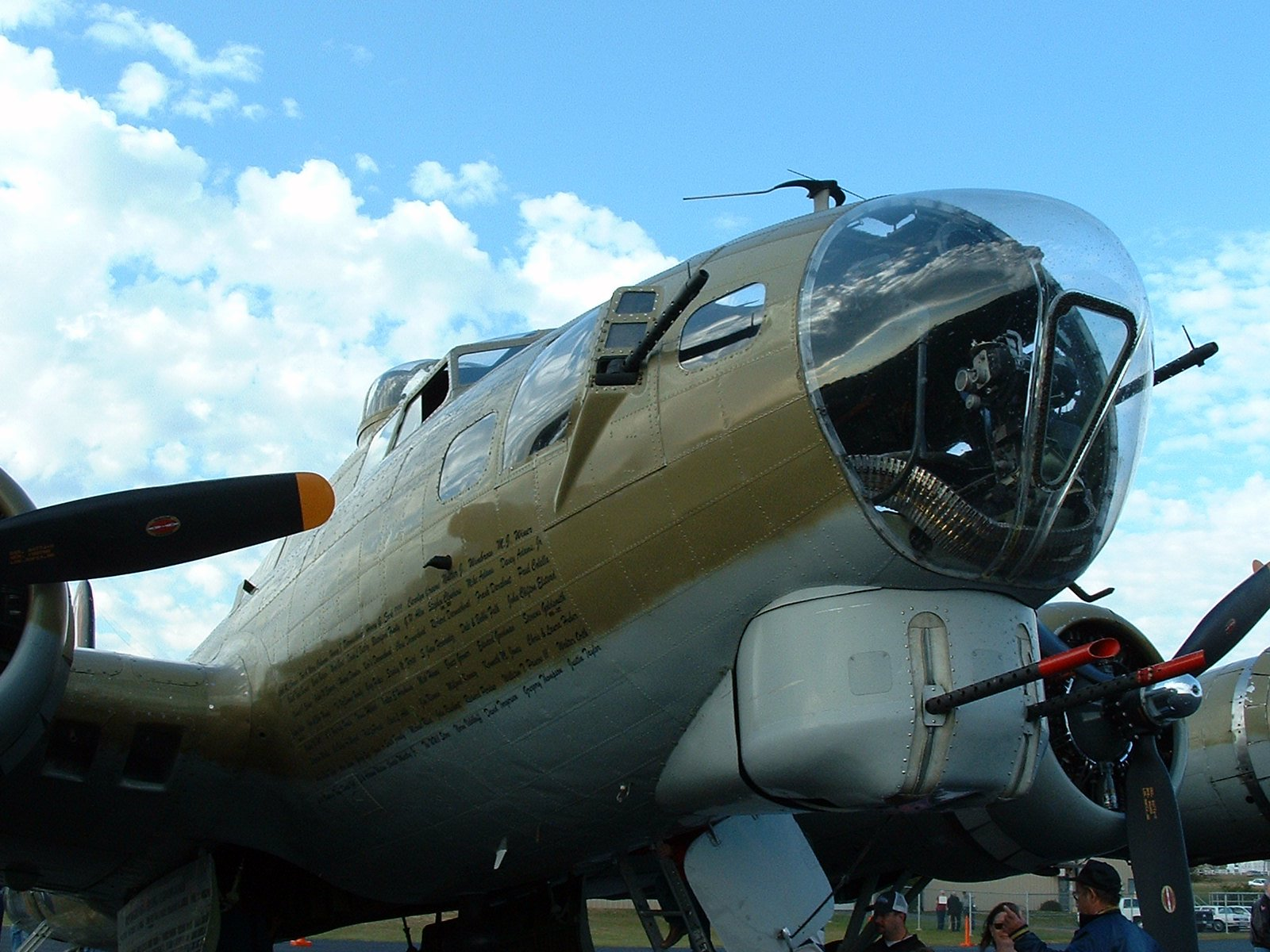 The nose of a B-17 bomber