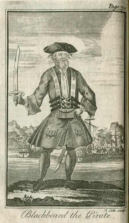 This illustration of Blackbeard is from Charles Johnson's book A General History of the Pyrates