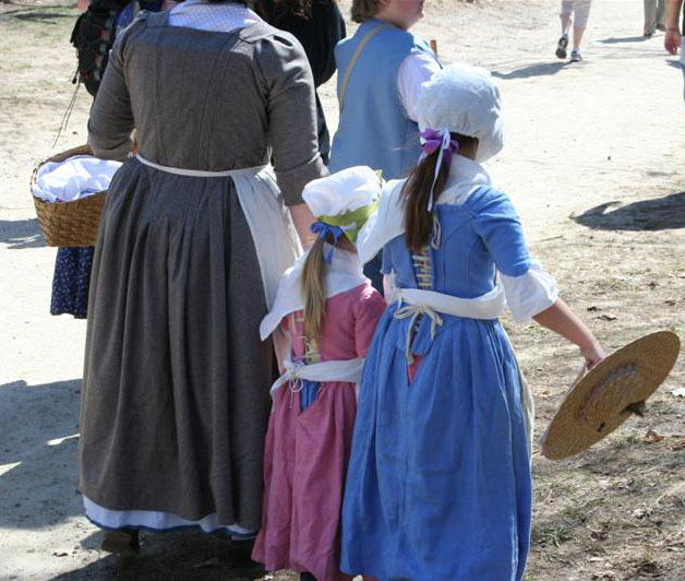 Colonial woman and children