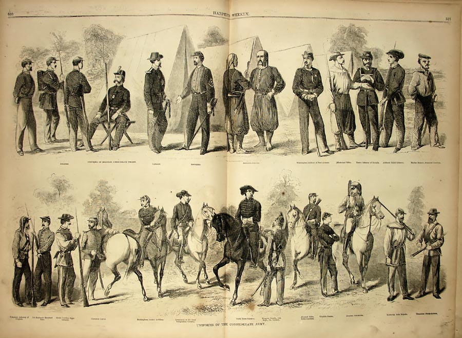 This magazine illustration shows the variety of uniforms worn by Confederate soldiers​.