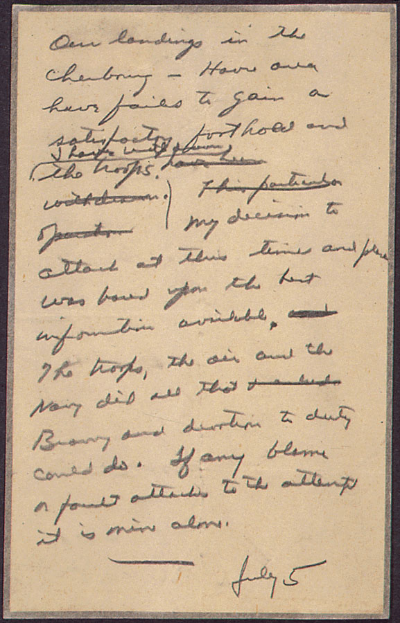 General Eisenhower drafted this note