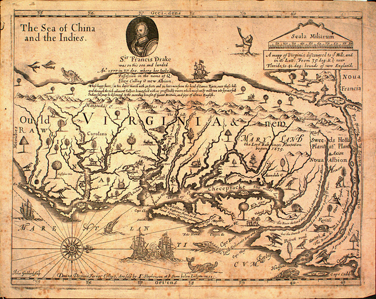 John Farrer's 1651 map of Virginia
