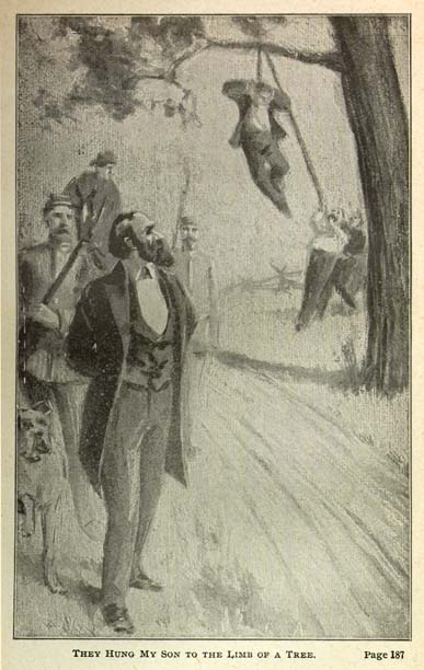 "Newspaper clipping of an illustration depicting a deserter hanged from a tree. The caption reads, ""They hung my son to the limb of a tree."""