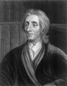 Black and white illustration of John Locke.