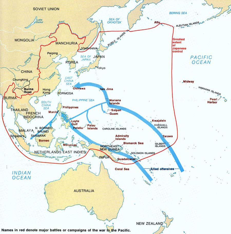 Map of World War II in the Pacific