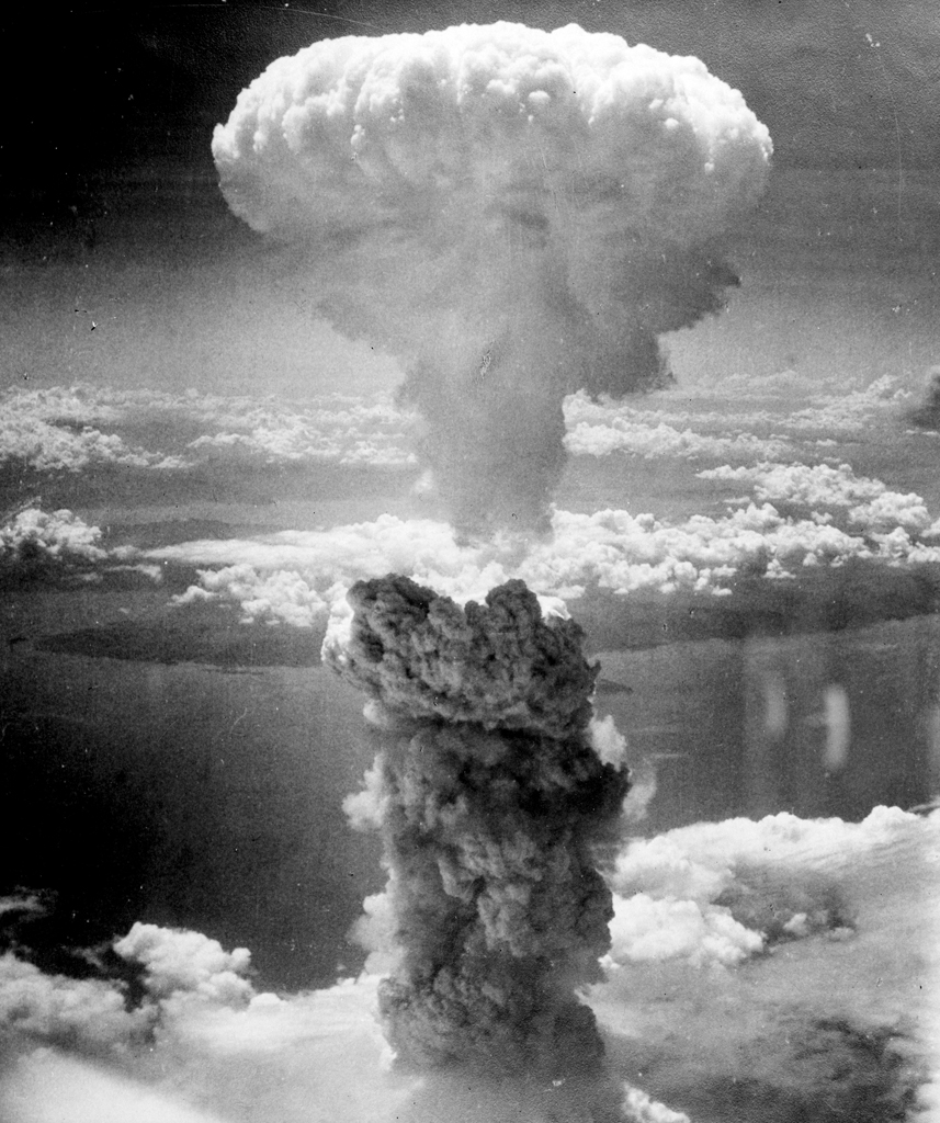 The mushroom cloud over Nagasaki, August 9, 1945