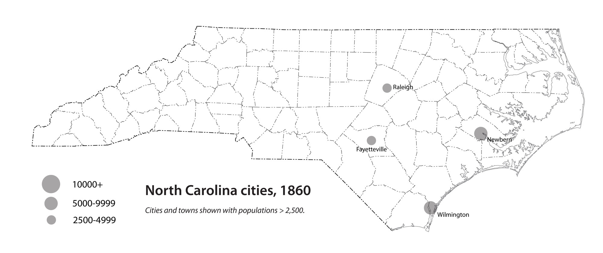 North Carolina cities, 1860