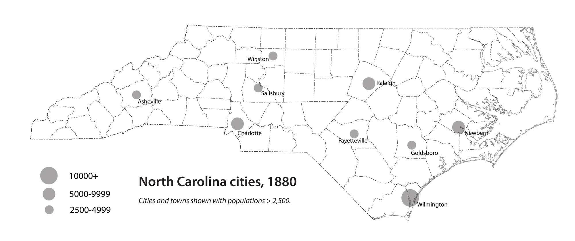 North Carolina cities, 1880