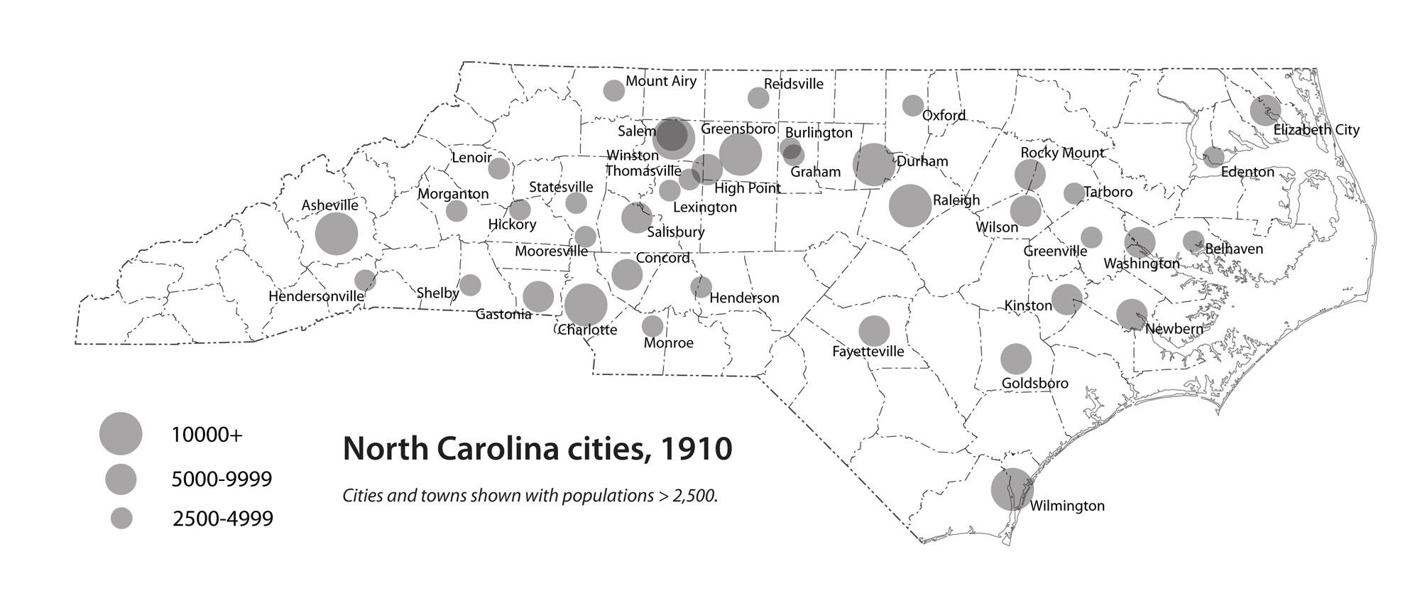 North Carolina cities, 1910
